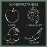 Set of Summer Fruits Menu - Hand-sketched  Element on Chalkboard Stock Photos