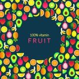 Set with summer fruits. Vector illustration with banana, pineapple,. Set with summer fruits. Vector illustration with kiwi, lemon, avocado, dragon fruit Stock Illustration