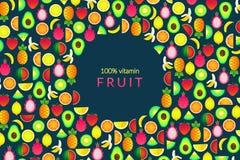 Set with summer fruits. Vector illustration with banana, pineapple,. Set with summer fruits. Vector illustration with kiwi, lemon, avocado, dragon fruit Vector Illustration