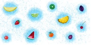 Set of summer fruits on a white background. Hand drawn stock illustration
