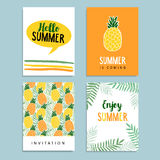 Set of summer greeting, journaling cards. Birthday invitation. Pineapple fruit, palm leaves background. Tropical flat desi. Set of summer greeting cards vector illustration