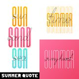 Set Summer hand drawn brush font letterings. Summer typography - hello, sun sand sea, time, in my heart royalty free illustration