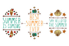 Set of summer hand-sketched elements Royalty Free Stock Photography