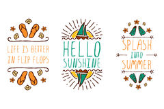 Set of summer hand-sketched elements Royalty Free Stock Image