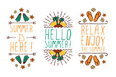 Set of summer hand-sketched elements Royalty Free Stock Photos