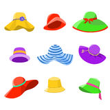Set of summer hats women Royalty Free Stock Image