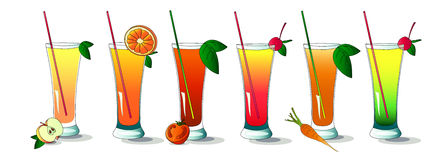 Set of summer and healthy drinks Royalty Free Stock Photo