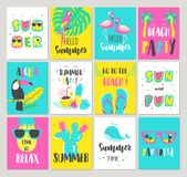 Set of Summer holiday cards. Hand drawn beautiful posters. Royalty Free Stock Photo