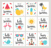 Set of Summer holiday cards. Hand drawn beautiful posters. Vector illustration Royalty Free Stock Images