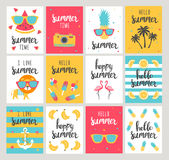 Set of Summer holiday cards. Hand drawn beautiful posters. Vector illustration Stock Image
