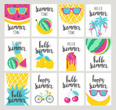 Set of Summer holiday cards. Hand drawn beautiful posters. Vector illustration Stock Photos