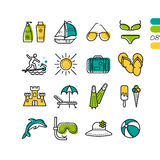 Set summer holiday linear colored icons Stock Photo