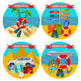 Set of summer holidays posters travelling by land and water concept. Stock Image