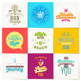 Set of summer holidays and travel type design Stock Photography