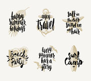 Set of summer holidays and tropical vacation illustrations. Set of summer holidays and tropical vacation hand drawn illustration with handwritten calligraphy Stock Photography