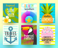 Set of summer holidays and tropical vacation  posters or greeting card Royalty Free Stock Image