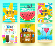 Set of summer holidays and tropical vacation  posters Stock Photography