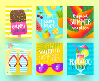 Set of summer holidays and tropical vacation  posters Stock Photo