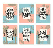 Set of summer holidays and tropical vacation posters or greeting card Stock Images