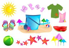 Set Summer Icons Stock Image