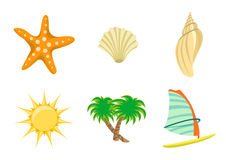Set of summer icons. Vector illustration of summer icons. Includes sun, starfish, sea shelld, palm tree and yacht Royalty Free Stock Photography