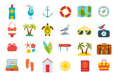 Set of summer icons. Beach accessories, sea objects, summer cosmetics, surfboards, animals and sea birds Stock Photos