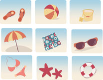 Set of summer icons Stock Images