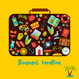 Set of summer icons inside a suitcase. Royalty Free Stock Photography