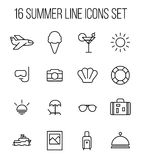 Set of summer icons in modern thin line style. High quality black outline travel symbols for web site design and mobile apps. Simple summer pictograms on a Royalty Free Stock Photos