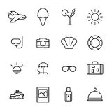 Set of summer icons in modern thin line style. High quality black outline travel symbols for web site design and mobile apps. Simple summer pictograms on a Royalty Free Stock Photography