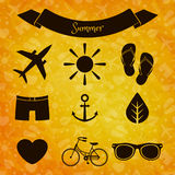 Set of summer icons Royalty Free Stock Images