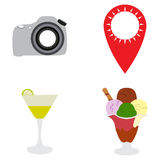 Set of summer icons. On a white background, Vector illustration Stock Photos