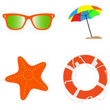 Set of summer icons Stock Image