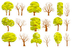 Set of summer isolated trees on white background. Vector illustration.Trees different shapes and sizes with a green foliage, branches, leaves. Objects vector illustration