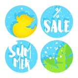 Set of summer labels for sale with duck, palm leaves and text on blue circles. Flat design. Vector background.  Stock Illustration