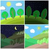 Set of summer landscape. Day and Night on a Clearing in the Forest. Cartoon vector illustration vector illustration