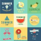 Set of summer logo vector illustration. Summer time. Summer taste. Summer camp. Summer adventure Stock Photography