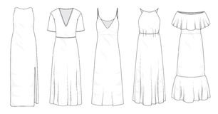 Set of summer long maxi dresses  royalty free illustration