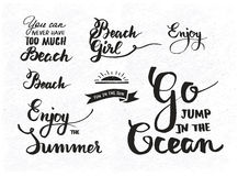 Set of summer motivational quotes about beach Stock Photography