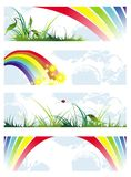 Set of summer natural banners with rainbow Royalty Free Stock Images