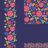 Set of summer night plants seamless pattern and Royalty Free Stock Image