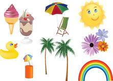 Set of summer objects Stock Photos