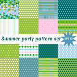 Set of summer pattern collection. Vector set of 16 pastel colored abstract geometric seamless patterns suitable for any type of decoration stock illustration