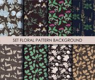 Set Summer patterns with floral background. Vector seamless backgrounds Stock Image