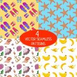 Set of summer patterns. Set of summer seamless patterns. Flip-flop pattern. Banana pattern. Seashells pattern. Sea star pattern. Vector design elements Stock Photos