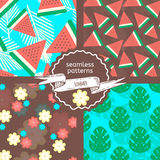 Set of summer patterns with watermelon, palm leaves and flowers. Vector illustration for web, print, textile.Colorful background design Stock Photo