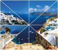 Set of summer photos in Santorini, Greece Royalty Free Stock Photography