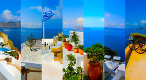 Set of summer photos in Santorini, Greece Royalty Free Stock Photo