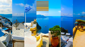 Set of summer photos in Santorini, Greece Stock Photos