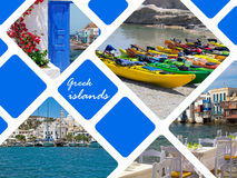 Set of summer photos in Santorini island Royalty Free Stock Photos